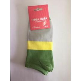 носки женские укороченные хлопковые контрастных цветов 102ПШ